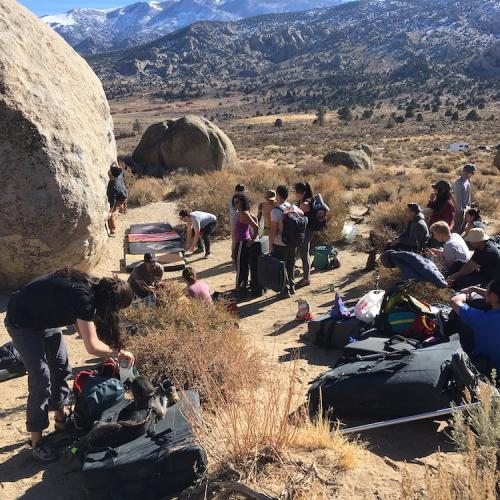 A very crowded climbing scene - The Buttermilks, CA